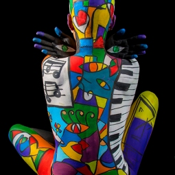 body paint northbrook college colourful make-up student brighton